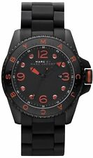 MARC JACOBS DIVER BLACK SILICONE WRAPPED S/STEEL+RED DIAL DETAILS WATCH MBM2571