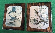 "2 Basil Ede Birds Nuthatch,Blue Jay 1968 Prints 11x13"" Decopodged Wood Wall Art"