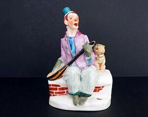 Jugendstil Figur - Martin Wiegand München-Meissen - Duett Clown und Hund um 1918