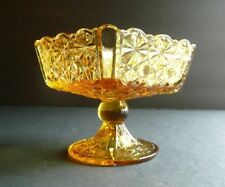 Amber Pressed Glass LG Wright DAISY & BUTTON Square Sherbet Bowl Dish