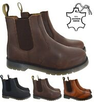 MENS LADIES SLIP ON LEATHER DEALER CHELSEA GUSSET ANKLE WORK SHOES BOOTS SZ 7-11
