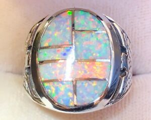 Powerful Solid Men's White Opal ring 12.5 VERY bright fire flashes The Original