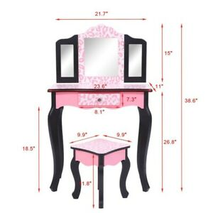 Kids' Wooden Vanity Table and Stool Set with 3 Mirrors, Princess Makeup Dressing
