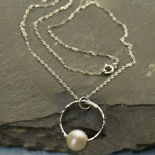 """Sterling Silver Hammered Open Circle Pendant Pearl Drop Minimalist Necklace 18"""""""