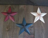 "Set of 3 Red White & Blue Primitive 6"" Metal Barn Stars Patriotic Americana Flag"