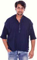 Indian Men's 100% Cotton short Tunic Kurta Shirt Plus Size Solid Black Color