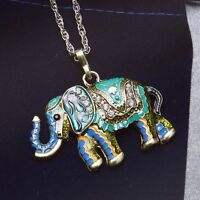 Retro Fashion HUGE Elephant Pendant With Rhinestone Crystal Long Chain Necklace