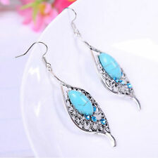 New Boho Style Elegant Tibetan Silver Turquoise Women Hook Drop Earrings Jewelry