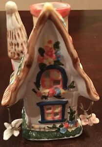 Cottage House Porcelain Candle Holder dangling Butterfly Floral Design Sweet