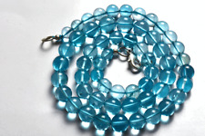 NATURAL SKY BLUE TOPAZ SMOOTH ROUND BALLS NECKLACE 5 TO 9 MM AAA 16.5 INCH