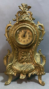 Ca.1900 Antique FRENCH ROCOCO Style VICTORIAN Shelf MANTEL Old BOUDOIR CLOCK