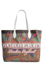 100% AUTH NEW BURBERRY DOODLETOTE CHECK REVERSIBLE CHECK TOTE BAG/HANDBAG/PURSE