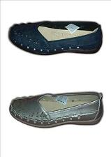 Ladies Wide Fit Flat Slip On Shoes IBIZA Navy, Silver Sizes 3-8