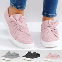 Women Ladies Fashion Solid Fashion Bowknot Casual Loafers Roman Soft Cloth Shoes