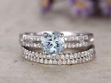 1Ct Round Aqua Blue Topaz Synt. DiamondEngagement Ring Set Silver White Gold Fns