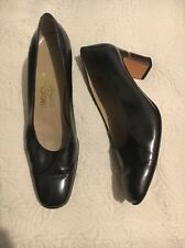 Salvatore Ferragamo Pewter Leather Shoes Womens US 9.5 B