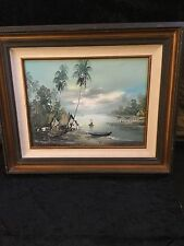 "20th Century Balinese Original Oil Painting Signed Rahmat ""Tranquil Inlet"""