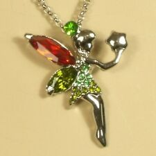 White Gold Tinkerbell Fairy Pendant with 16 inch Necklace Lobster Claw 18kgp