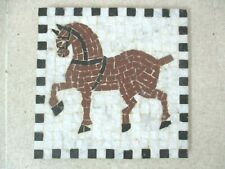 """""""DIOMEDES"""" Famous Roman Horse Handmade roman marble mosaic Wall hanging MOSAIQUE"""