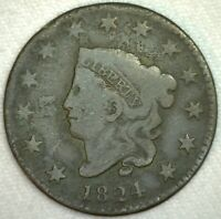 1824 Coronet Head One Cent Copper Large Cent Coin 1c US Coin Good Circulated