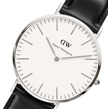 Daniel Wellington Men Women Quartz Watch Classic Sheffield Silver Black Leather
