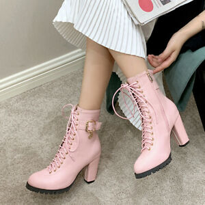 Women's Faux Leather Chunky High Heeled Lace Up Zipper Combat Ankle Boots Shoes