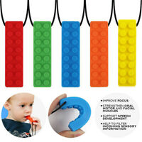 Kids Sensory Chew Necklace Silicone Biting Pencil Topper Teether Toy Colorful