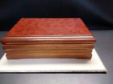 "Vintage Dark Burl Wood Jewelry Box 11.5""× 7""×4"" Taiwan"