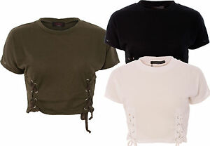 Ladies Rib Knit Short Sleeve Lace Tie Eyelet Crop Top T-Shirt Round Neck Plain