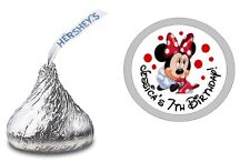 108 MINNIE MOUSE PERSONALIZED HERSHEY KISS LABELS STICKERS BIRTHDAY PARTY FAVORS