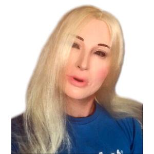 White Female Lady Doll Mask Blond Hair Wig Latex Fetish Costume Paris Hilton