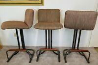 Set of 3 Vtg MCM Black Chrome Upholstered Swivel Bar Stools Mid Century Modern
