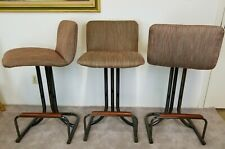 Antiques Lower Price with Cleo Baldon For Inca Mid Century Modern Bar Stools X 4 Iron & Oak Chairs 1970s Post-1950