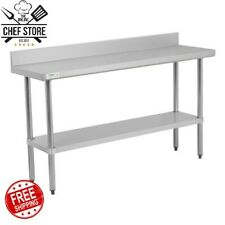 """18"""" x 60"""" Stainless Steel Nsf Commercial Kitchen Work Table with 4 Backsplash"""