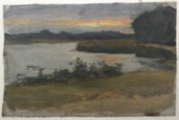 19th Century Oil Expressionist Painting Study of a Sunset Seascape Emil NOLDE
