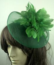 green feather fascinator millinery burlesque wedding hat bridal race ascot x