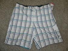Speedo Swim Trunks XXL 2XL Mens White Plaid Shorts NWT $54
