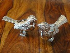 2 Deko Figuren Set Spatzen Vögel Silber Edelstahl Vogel Figur Spatz Singvogel