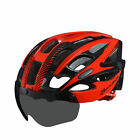 RockBros Cycling Helmet Road Bike MTB Helmet with Black Goggle Size L/XL Red