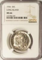 1936 Long Island Silver Commemorative Half Dollar - NGC MS-66 - Mint State 66