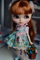 """【Tii】Rabbit dress outfit 12"""" 1/6 doll Blythe/Pullip/azone Clothes Handmade girl"""