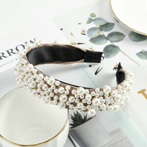 Women's Pearl Embellished Headband Hairband Crystal Hair Band Accessories Crown