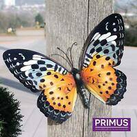Large Bright Orange Metal Butterfly Garden Ornament Wall Art Decoration GIFT BOX