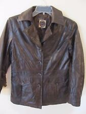 Women's Giacca 5 star outerwear Faux Leather Brown Jacket Size Medium