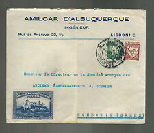 1936 Lisbon Portugal Commercial cover to Hombourg Germany Sarre