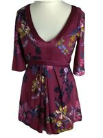 Monsoon Red Burgundy Silk Trim Floral Artisan Smart Blouse Top Size 8 S Tie Back