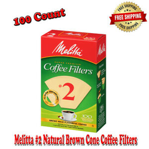 Melitta #2 Natural Brown Cone Coffee Filters, Naturally 100%, Gluten-Free 100 Ct