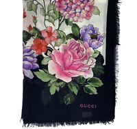 GUCCI WOMEN GG SHAWL BLACK RISING FLOWER PRINT 538108 3G856 926 MRSP:$480.00