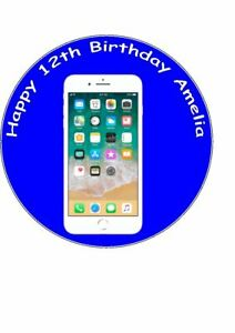 7.5 inch Personalised Edible Icing Cake Topper Birthday Iphone I Phone
