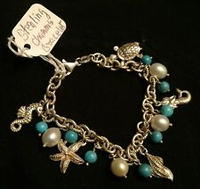 Vintage Sterling Silver Milor Bracelet W Beach Charms & Pearl, Turquoise Beads